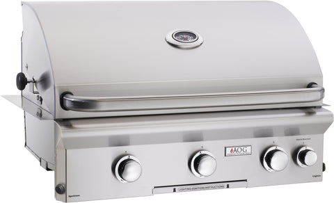 Image of American Outdoor Grill L-Series 30-Inch 3-Burner Built-In Gas Grill - Fireplace Choice