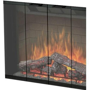 Dimplex Black, Single Pane, Bi-Fold Look Glass Door - BFDOOR45BLKSM - Fireplace Choice