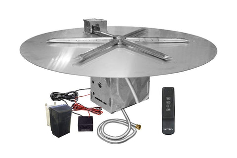"Image of Firegear 19"" Electronic Ignition Gas Fire Pit Burner Kit, Round Flat Pan - Fireplace Choice"
