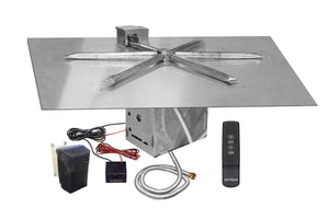 "Firegear 25"" Electronic Ignition Gas Fire Pit Burner Kit - Square Flat Pan - Fireplace Choice"