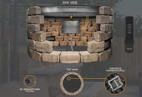 "Image of Firegear 33"" Electronic Ignition Gas Fire Pit Burner Kit - Round Bowl Pan - Fireplace Choice"