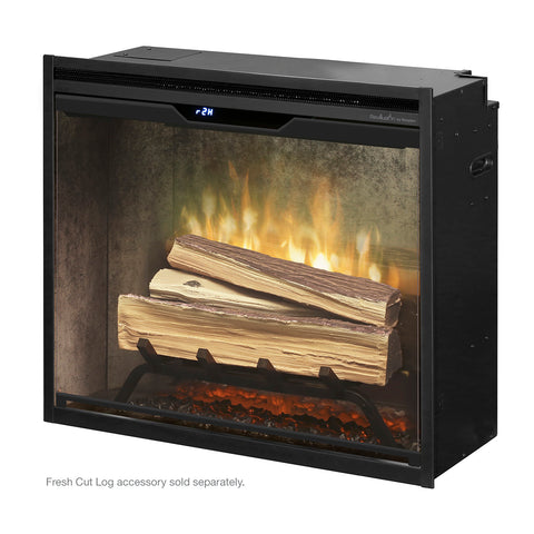 "Dimplex Revillusion 24"" Built-In Electric Firebox with Weathered Concrete Backer -  RBF24DLXWC - Fireplace Choice"