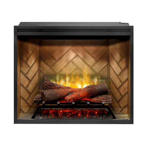 "Dimplex Revillusion® 30"" Built-in Electric Firebox with Herringbone Brick - RBF30 - Fireplace Choice"