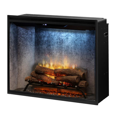 "Dimplex 36"" Revillusion Portrait Electric Firebox with Weathered Concrete Backer - RBF36PWC - Fireplace Choice"