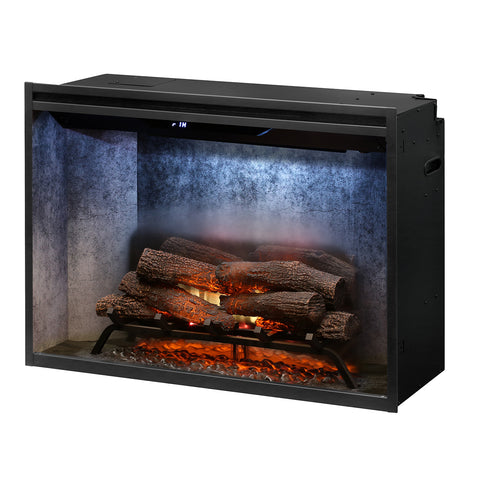 "Dimplex 36"" Revillusion  Electric Firebox with Weathered Concrete Backer - RBF36WC - Fireplace Choice"
