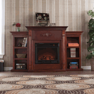 SEI Tennyson Electric Fireplace with Bookcases - Classic Mahogany