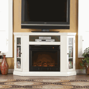 SEI Claremont Convertible Electric Media Fireplace - Ivory - Fireplace Choice