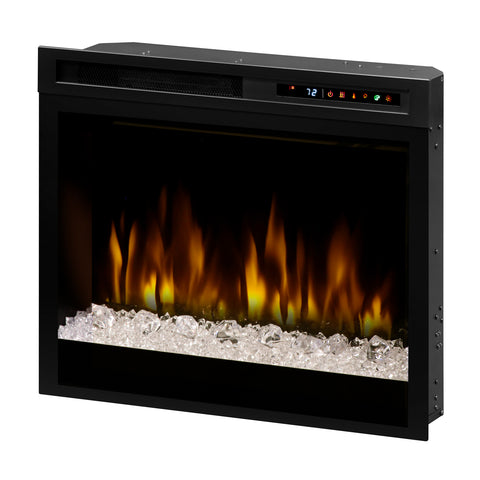"Image of Dimplex 28"" Multi-Fire XHD Plug-in Electric Firebox with Acrylic Ice, Driftwood, River Rocks - Fireplace Choice"