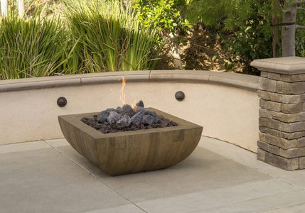 "American Fyre Designs 36"" Bordeaux Square Reclaimed Wood Fire Bowl - Fireplace Choice"
