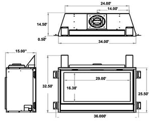 Sierra Flame Bradley 36 Direct Linear Gas Fireplace Specs Diagram