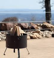 "Buck Stove 18"" Round Wood Burning Fire Pit with Diamond Design - MA RDFP18-BK - Fireplace Choice"