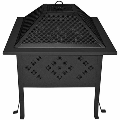 Buck Stove 18 Square Wood Burning Fire Pit with Diamond Design - MA SDFP18-BK - Fireplace Choice