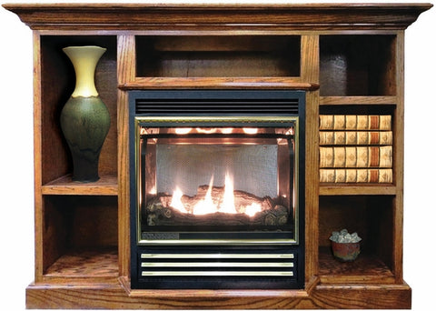 Buck Stove 1127 Vent Free Gas Stove with Prestige Mantel Combo - Propane - Fireplace Choice