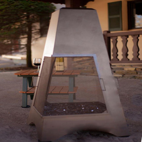 "Buck Stove 46"" Pyramid Outdoor Natural Gas Chiminea with Screen - NV PY46NG-BZ - Fireplace Choice"