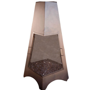 "Buck Stove 72"" Gas Chiminea in Bronze - LP - Fireplace Choice"