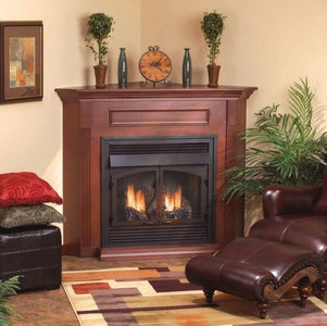 "Empire Corner Wooden Mantel Cabinet with Base - For 32"" Fireplaces and Fireboxes - Fireplace Choice"
