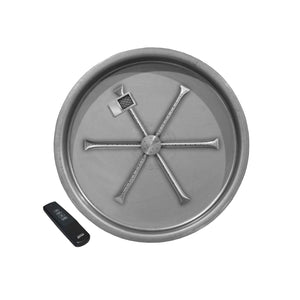 "Firegear 25"" Stainless Steel Pan Electronic Ignition -  Round Bowl Pan - Fireplace Choice"