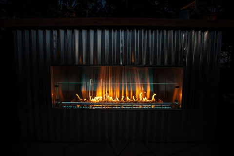 "Image of Firegear 48"" Outdoor Kalea Bay  Linear Fireplace (OFP-48LECO-N) Lifestyle - Fireplace Choice"