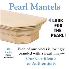 Pearls Mantels No. 490 Lindon Fireplace Mantel Shelf - pearl inlay for authenticity