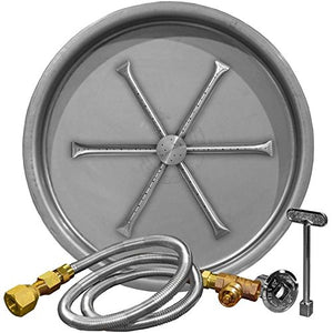 "Firegear 25"" Listed Match Light Gas Fire Pit Burner Kit - Round Bowl Pan - Fireplace Choice"
