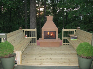 Mirage Stone Open Face Outdoor Woodburning Fireplace with Adjustable BBQ Rack
