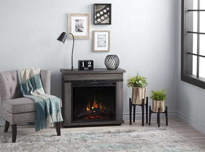 "Morgan Charcoal Oak Mantel with 23"" Electric Fireplace - C3P23LJ-2085CO - Fireplace Choice"