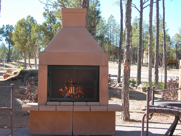 Mirage Stone Open Face Outdoor Woodburning Fireplace with Adjustable BBQ Rack - Fireplace Choice
