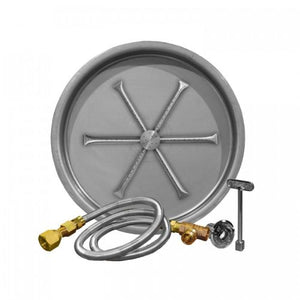 "Firegear 29"" Match Light Gas Fire Pit Burner Kit with Round Bowl Pan"