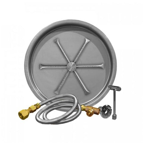 "Firegear 33"" Match Light Gas Fire Pit Burner Kit with Round Bowl Pan - Fireplace Choice"
