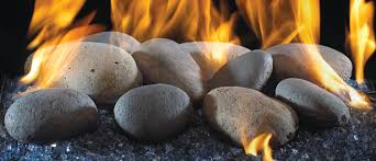 Image of American Fyre Designs River Rock Fyre Stones - 10-Piece Set - Fireplace Choice