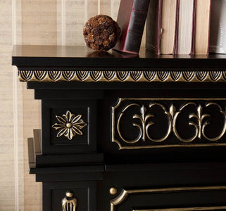 SEI Donovan Electric Fireplace - Black and Gold - Fireplace Choice