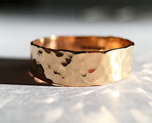 Gold & Sterling Silver Jewellery, 18 carat Gold Textured Handmade Ring