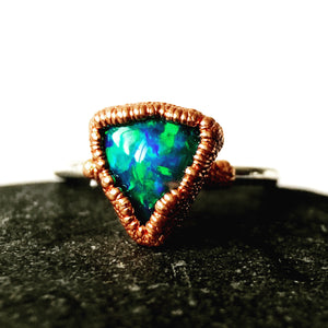Opal ring in copper