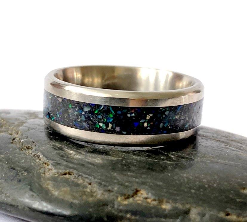 Titanium Inlay Natural Opal Unisex Ring Band - Glitter and Gem Jewellery