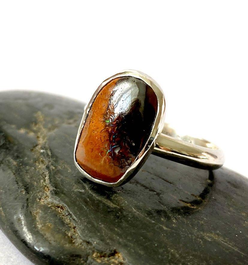 Boulder Opal Sterling Silver Ring, size Q1/2, US ring size 8 1/2 - Glitter and Gem Jewellery
