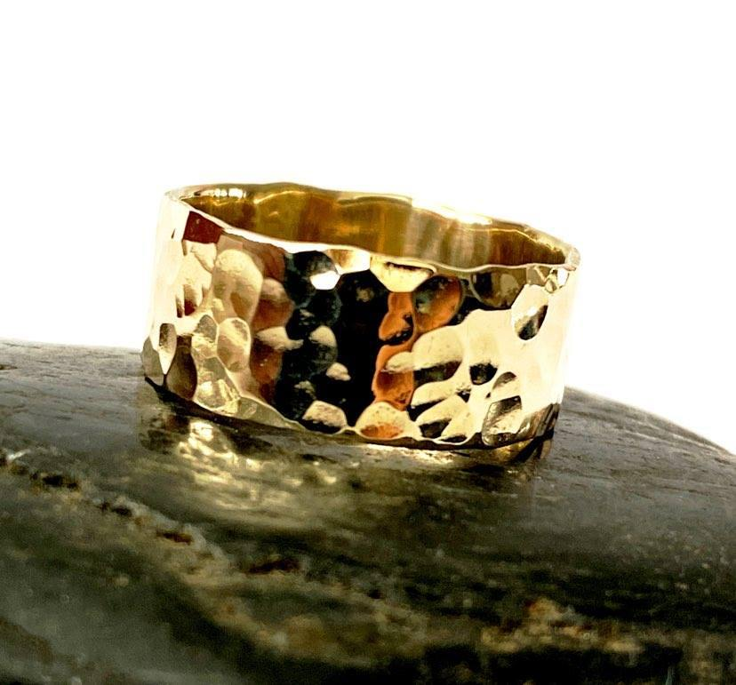 9 ct Hammered Gold Ring Band - Glitter and Gem Jewellery