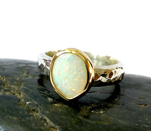 Solid Opal 9 ct gold & Sterling Silver Ring - Glitter and Gem Jewellery