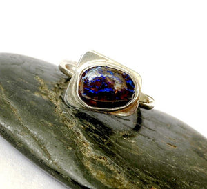 Original Boulder Opal  Designer Sterling Silver Ring. Ring size M 1/2 US ring size 7 - Glitter and Gem Jewellery