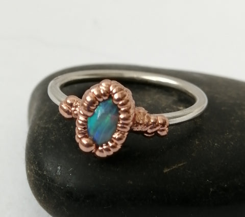 Solid Opal Copper & Silver Ring - Glitter and Gem Jewellery