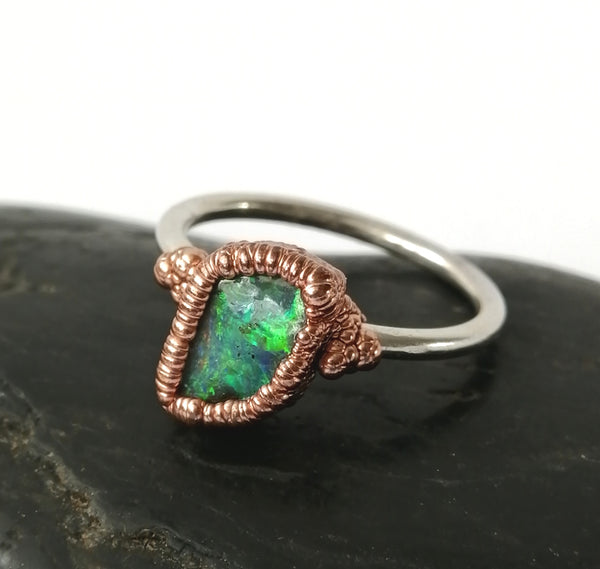 Solid Opal Copper and Silver Ring - Glitter and Gem Jewellery