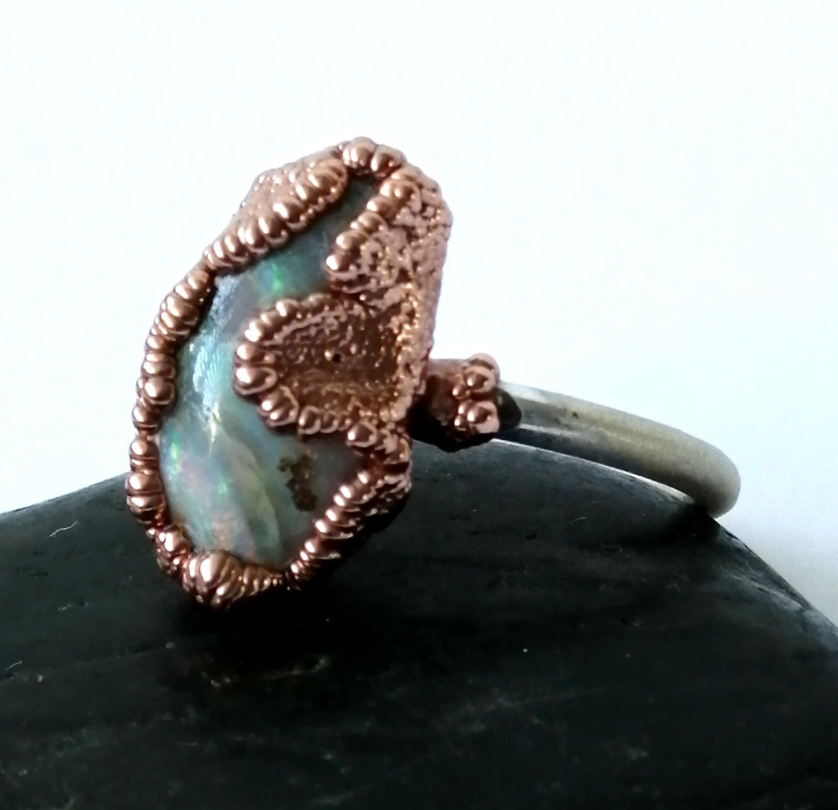 Boulder Opal Copper and Silver Ring - Glitter and Gem Jewellery