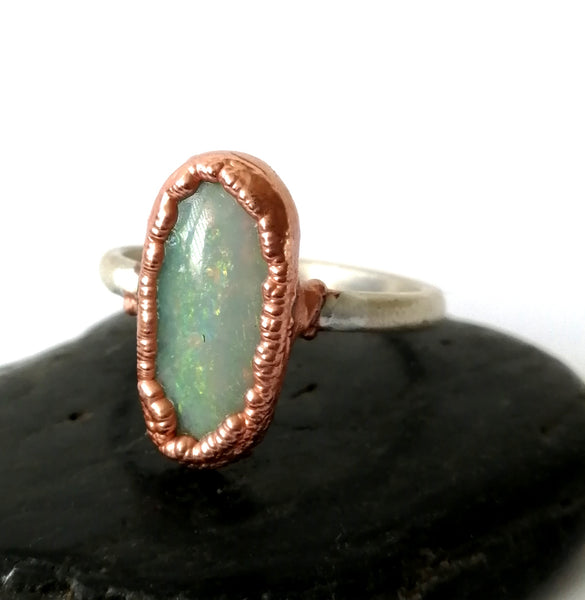Solid Crystal Opal Copper and Silver Ring - Glitter and Gem Jewellery