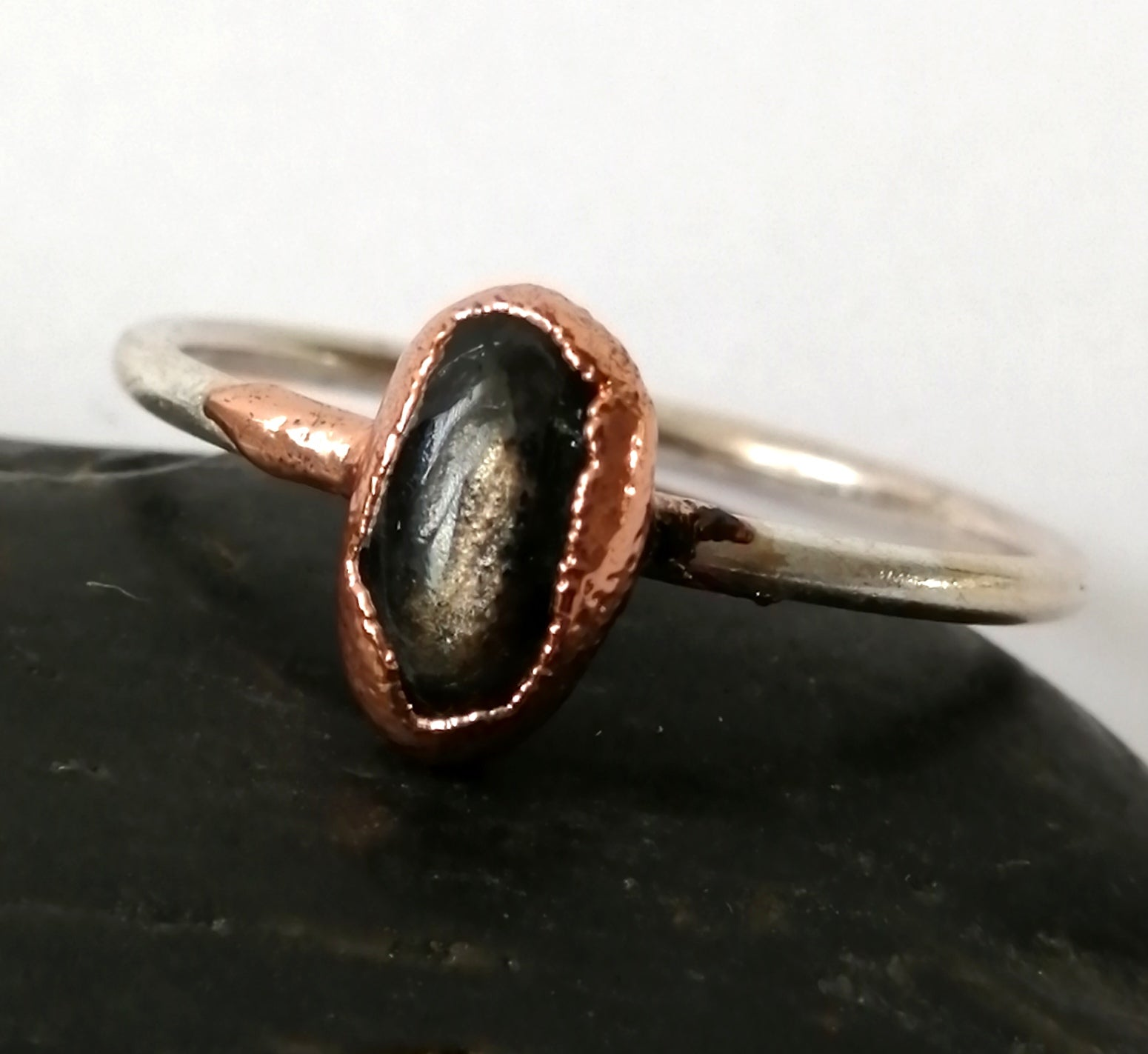 Natural Sapphire Copper and Silver Ring - Glitter and Gem Jewellery