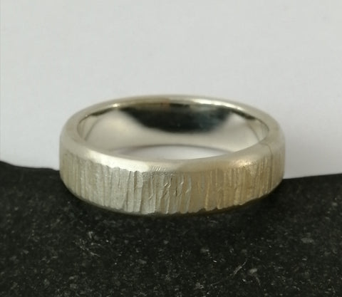 Textured Sterling Silver Unisex Ring Band - Glitter and Gem Jewellery