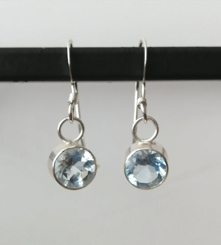 Topaz Sterling Silver Sky Blue Earrings - Glitter and Gem Jewellery