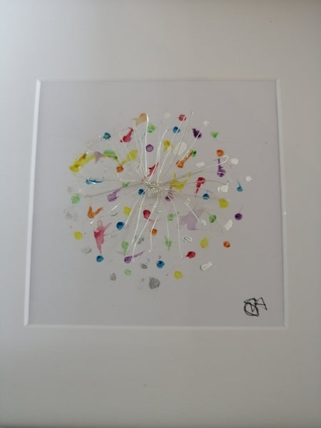 Silver Starburst original watercolour and wire sculpture framed art - Glitter and Gem Jewellery