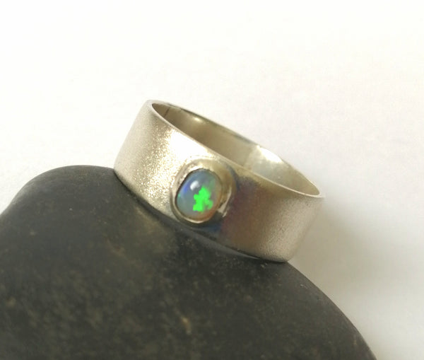 Opal Silver Band Ring - Glitter and Gem Jewellery
