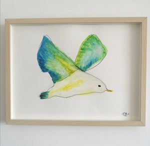 Seagull watercolour and wire sculpture original framed art - Glitter and Gem Jewellery