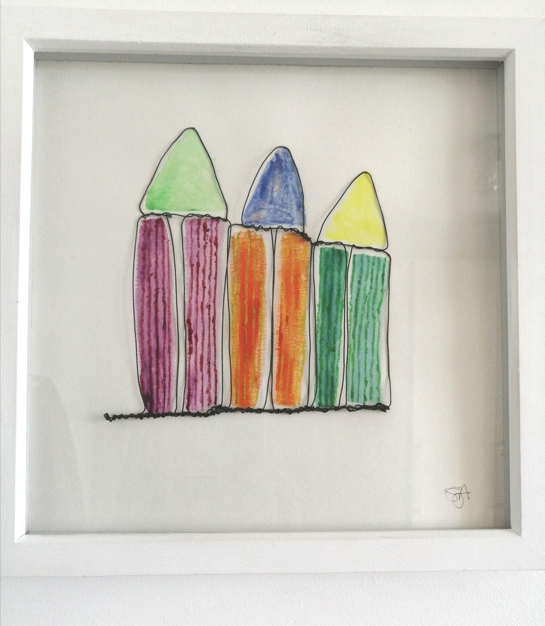 Beach Huts Original Wire and Watercolour Framed Art - Glitter and Gem Jewellery