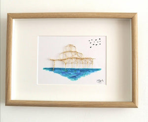 Brighton West Pier original watercolour and wire sculpture framed art - Glitter and Gem Jewellery